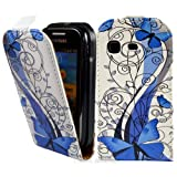 Blue Butterfly PU Leather Flip Case Cover For The Samsung Galaxy Pocket S5300