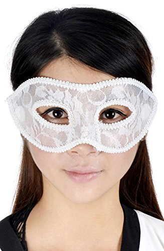 [Simplicity Venetian Fancy Dress Accessory Costume Party Eye Mask, White] (Kids Natural Leopard Costumes)