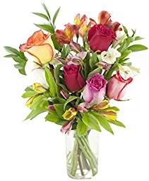Sweet for Home Rose & Alstromeria Combo - With Vase