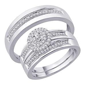 10K White Gold, Diamond Trio Wedding Ring Set (3/8 cttw)