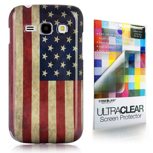CaseiLike ® USA American Flag retrò Vintage, Snap-on duro indietro cover per Samsung Galaxy Ace 3 i7272 con Screen Protector