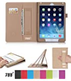 [Luxurious Protection] iPad Air 2 Case, FYY Premium Leather Case Smart Auto Wake/Sleep Cover with Velcro Hand Strap, Card Slots, Pocket for iPad Air 2 Khaki