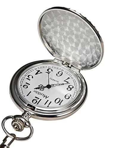 Mudder Vintage Silver Stainless Steel Quartz Pocket Watch Chain 3