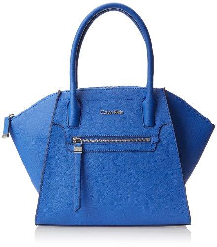 Calvin Klein Key Item Saffiano Satchel Top Handle Bag,Cornflower,One Size