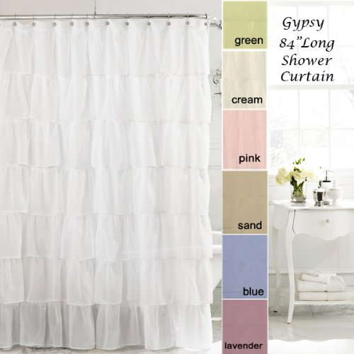 "Details for 84"" Long Gypsy Shabby Chic Ruffled Fabric Shower Curtain by Lorraine Home Fashions"