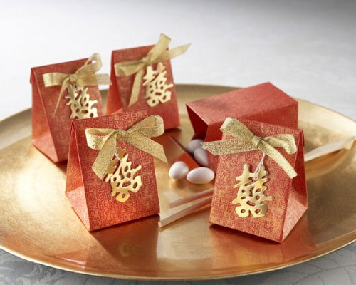 Double Happiness Asian-Themed Favor Box with Metallic-Gold Symbol and Bow (Set of 24)