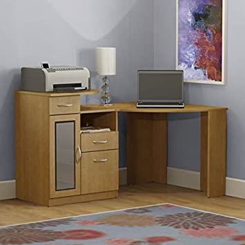 Corner Office Desk Set Makes for the Perfect Home Computer Space or for a Bedroom Laptop Work Station to Do Your Homework