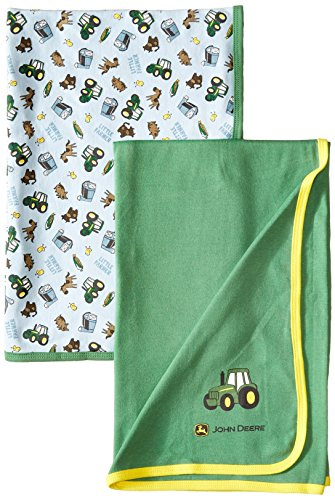 John Deere Baby-Boys Newborn Barn Toss Blanket Set, Light Blue/Green, One Size