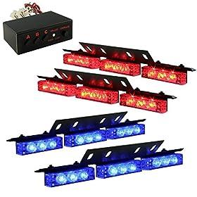 Ediors Ultra Bright 36 LED Emergency Vehicle Flashing Warning Strobe Lights/Lightbars For Deck Dash Grille-Red/Blue