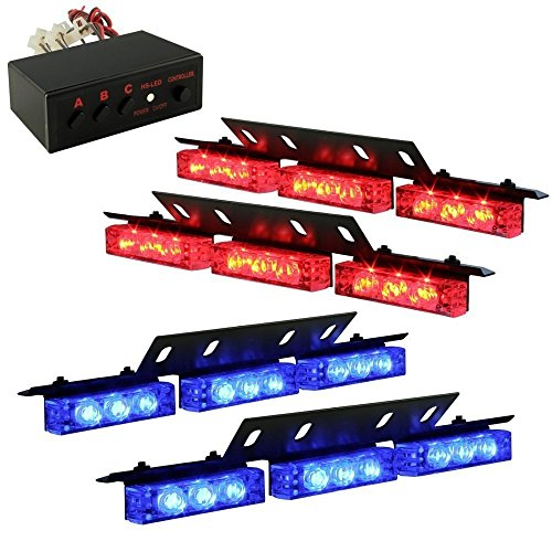 Ediors Ultra Bright 36 Led Emergency Vehicle Flashing Warning Strobe Lights/Lightbars For Deck Dash Grille-Red/Blue