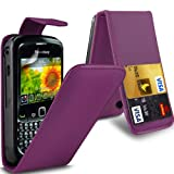 (Purple) Blackberry Curve 8520 Protective Faux Leather Debit/Credit Card Slot Flip Case Cover Skin & Screen Protector Guard By *Aventus*