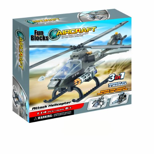 Fun Blocks (Compatible With Lego) Military Hawk Helicopter 3-In-1 Brick Set (114 Pieces)
