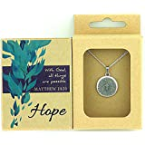 """""""HOPE"""" GIFT BOX FOR HER w/ Matthew 19:26 Medallion Pendant - """"With God, All Things are Possible."""" - Religious Gifts for Women Teens Girls Sister Mom Wife Gifts For Any Occasion"""