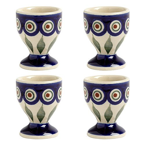 blue-peacock-handmade-ceramic-egg-cups-manufaktura-w-boleslawiec-genuine-hand-painted-polish-pottery