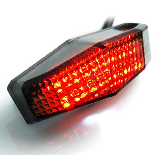 Motorcycle Sport Racing Bike Smoke Red Led Sport Brake Tail Light Taillight License Plate For Honda Xl1000V Xl700V Nt700V Xl125V Xr230 Ape50 Cb1000R Cb1300 Cb600F Hornet Cbf600 Cb400 Cbr125R Cbf125