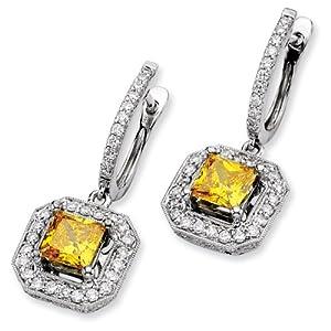 14k White Emma Grace Princess Cultured Diamond Earrings - JewelryWeb