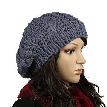 Women Beret Braided Baggy Beanie Crochet Knitting Warm Winter Wool Hat Ski Cap Gray (gray)