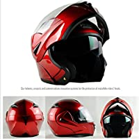 ILM 10 Colors Motorcycle Flip up Modular Helmet DOT (M, Red) by ILM