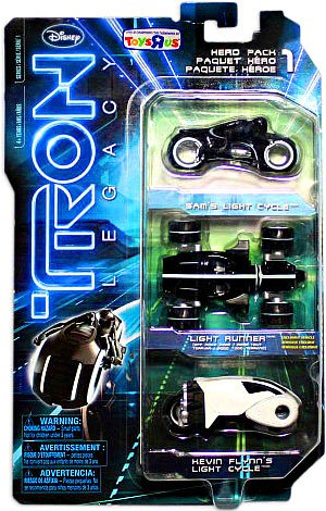 Tron Legacy Hero 1:50 Scale Diecast Toy Vehicle Exclusive 3 Pack - Sam's Light Cycle, Light Runner, Flynn's Light Cycle