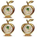 Set Of 4 - Golden Apple Leaf Ganesha Idol For Car Dashboard / Home / Office Perfect Gift Item - 3.5 X 2.5 Inch