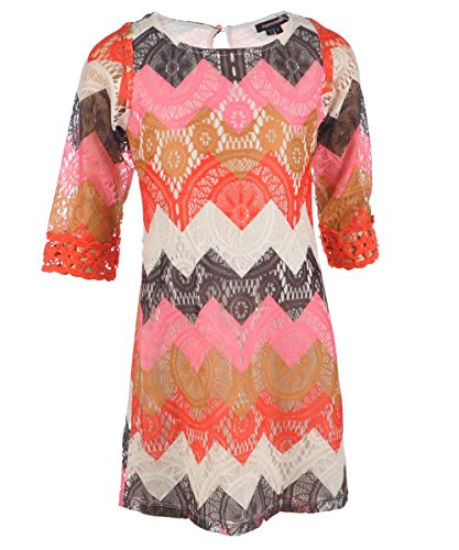 "My Michelle Big Girls' ""Vintage Knit"" Dress - Pink/Multi, 12 front-982491"