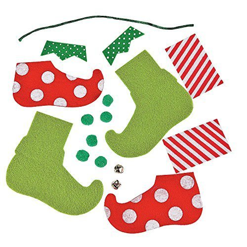 Felt Elf Feet Ornament Craft Kit; Makes 6 Kits
