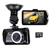 Blusmart HD Dash Car DVR 1080P Camera Camcorder Recorder 3.0 Inch screen Automatic Video Function with Night Vision Rear Camera & 16GB Samsung SD card