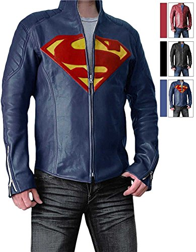 Super Steel Blue Jacket for Men - Synthetic Leather (L)