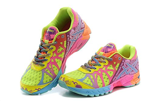 Da donna Gel Noosa Tri 9 Sneakers Sport Trail Road Racer, concorrenza Racing Calzature, in verde, rosso, donna, Green Red, EUR39
