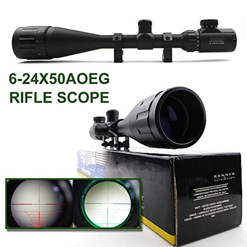 "Aukmont Banner 6-24X50Aoe Rifle Scope Illuminated Red & Green Range-Finding Graph Reticle 1/4 Moa 1"" Tube"
