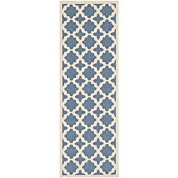Safavieh Courtyard Collection CY6913-243 Blue and Beige Indoor/ Outdoor Runner, 2 feet 3 inches by 8 feet (2\'3\