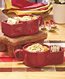 Soup Bowls with Cracker Space and Handle - Set of 2 Ceramic Mugs Hold Any of Your Favorite Soups and Crackers. Each Color Rich Bowl Is Microwavable, Dishwasher Safe and a Great Addition to Your Casual Dining Kitchen Collection (Red)