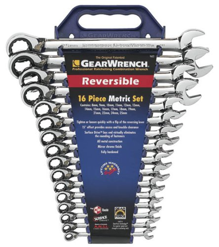 Gear Wrench 9602 16-Piece Metric-Set Reversible Combination Ratcheting Wrench