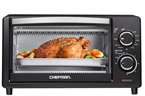 Chefman Countertop Toaster Oven, 4 Slice Toast, Bake and Broil Fuctions, Black – RJ25-4-CL