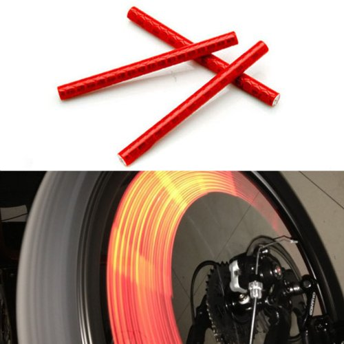 12Pcs Red Bicycle Wheel Spoke Reflector Reflective Strip Clip Tube