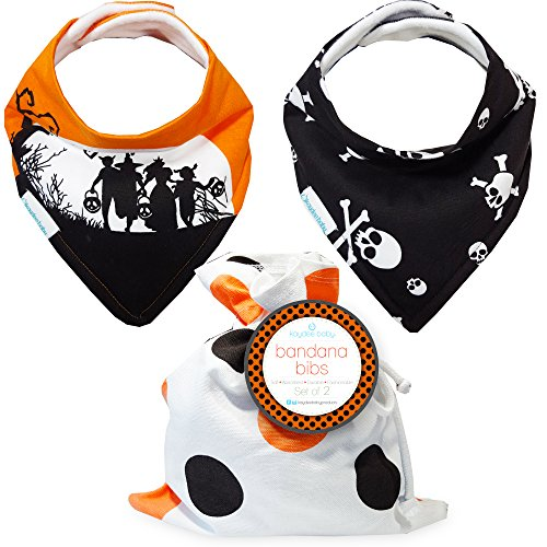 Kaydee Baby Bandana Drool and Dribble Bibs with Adjustable Snaps for Girls and for Boys (Halloween) Unisex 2 Pack Gift Set - Perfect Costume (Boy Girl Twin Halloween Costumes)
