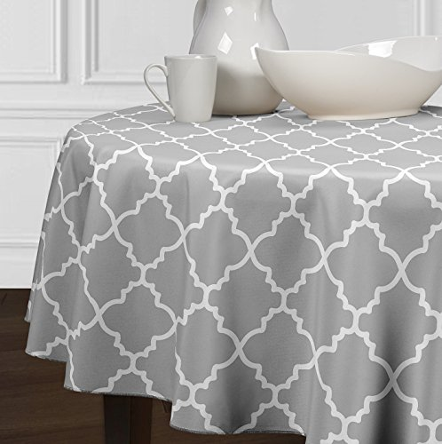 Grey and White Round Trellis Tablecloths Dining Room and Kitchen (84