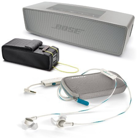 Bose QuietComfort 20 In-ear Noise Cancelling Headphones for Apple Devices, White w/ SoundLink Mini II Pearl & Travel Bag - Bundle