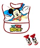 Disney Mickey Mouse Boy's Black and Red Infant Bib, and Bootie Set [5011]