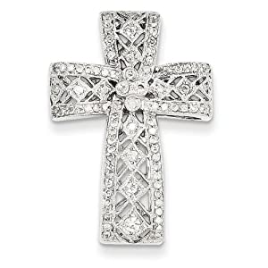 IceCarats Designer Jewelry 14K White Gold Diamond Filigree Cross Pendant
