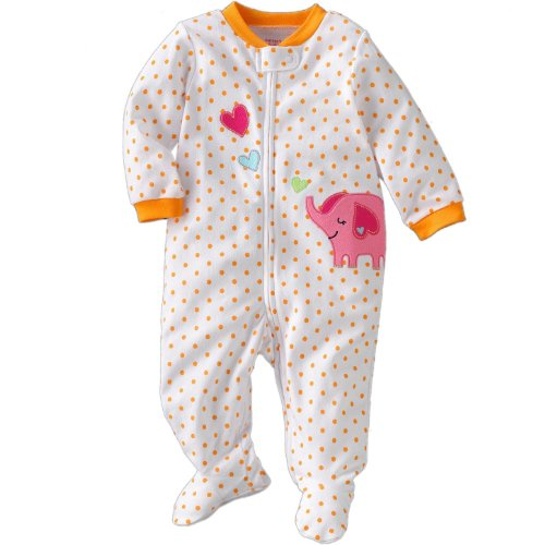 Carter's Baby Girls One-piece Footed Cotton Sleep & Play Orange Elephant (9 Month)