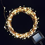 Kootek Solar Powered 130 LED Light Strip Copper Lighting String Fairy Starry Lights for Outdoor Christmas Tree Thanksgiving Decoration Festival Wedding Birthday Party Garden Landscape (Warm White)