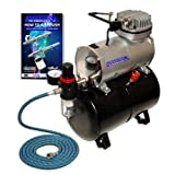 NEW Quiet MASTER AIRBRUSH TANK COMPRESSOR-(FREE) AIR HOSE and Now a (FREE) How to Airbrush Training Book to Get You Started, Published Exclusively By TCP Global. (Color: 1/5 Hp Airbrush Compressor W/Air Tank & Hose, Tamaño: 1/5 HP Airbrush Compressor w/Air Tank & Hose)
