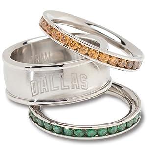 Buy NHL Logo Art Dallas Stars Ladies Spirit Crystal Stacked Ring Set by Logo Art