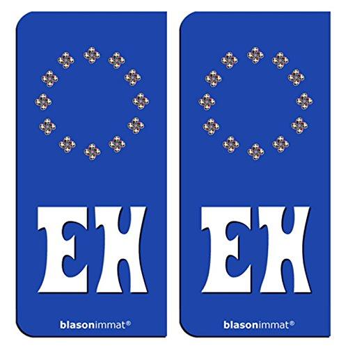 2-Stickers-plaque-dimmatriculation-auto-EH-Euskal-Herria-Identifiant-Europen