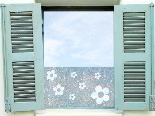 Dekorfolie, Fensterfolie Fenstertattoo selbstklebender Sichtschutz, Banner mit Blumen (20 Euro/ 1m) glas071 Aufkleber für Fenster, Glastür und Duschtür, Badezimmer Glasdekor Fensterbild, wasserfeste Glasdekorfolie in Sandstrahl - Milchglas Optik (0.80m x 42cm)