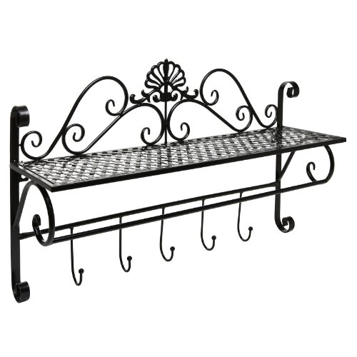 Beautiful Black Metal Decorative Wall Mounted Storage Shelf w/ 5 Hooks / Bathroom Towel Rack