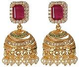 Violet & Purple Gold Alloy Jhumki Earrings for Women (1000030681)