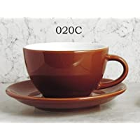 Brown cappuccino cups, heavy weight, set/6 cups & saucers 7oz.