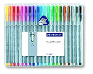 Staedtler 334sb20bk Triplus Fineliner Pen - 0.3 Mm Pen Point Size - Assorted Ink - 20 / Pack